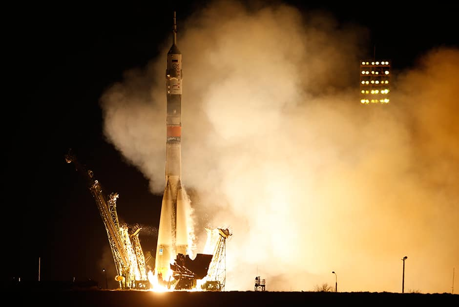 The Soyuz-FG rocket booster with Soyuz TMA-16M space ship carrying a new crew to the International Space Station, ISS, blasts off at the Russian leased Baikonur cosmodrome, Kazakhstan.
