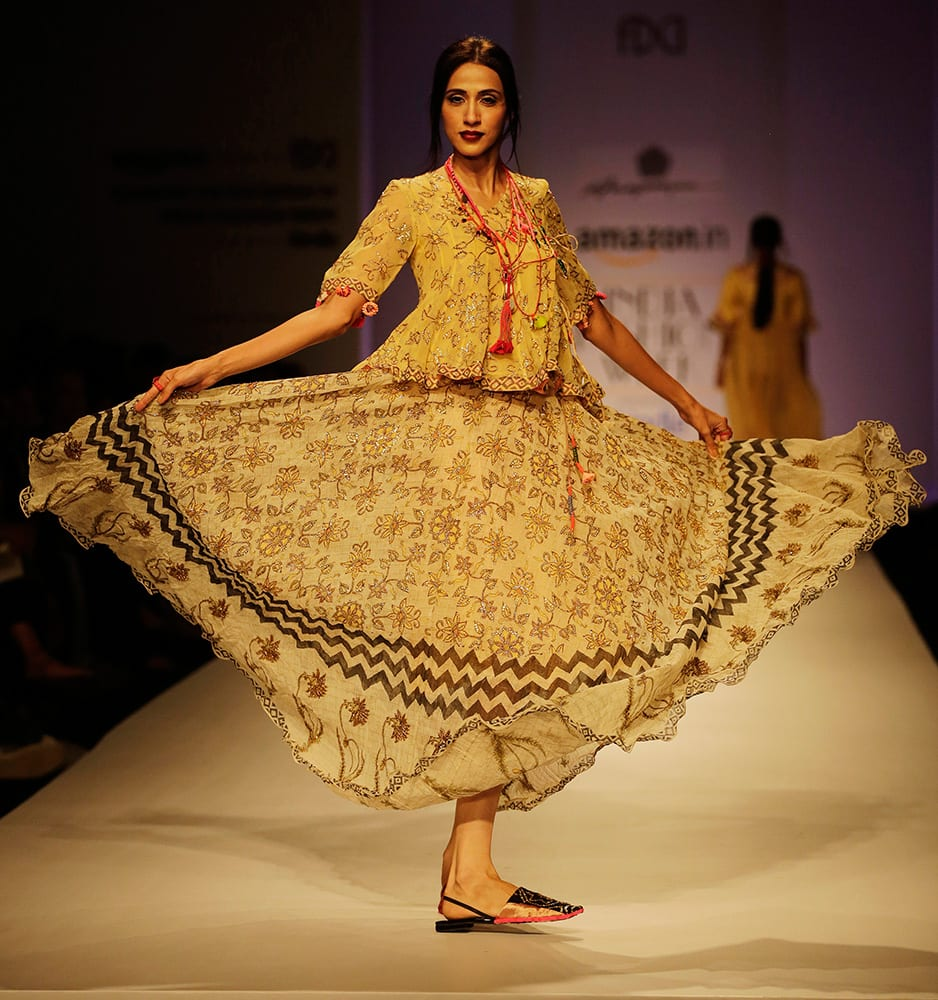 A model displays a creation by Anupama Dayal during the Amazon India Fashion Week in New Delhi.
