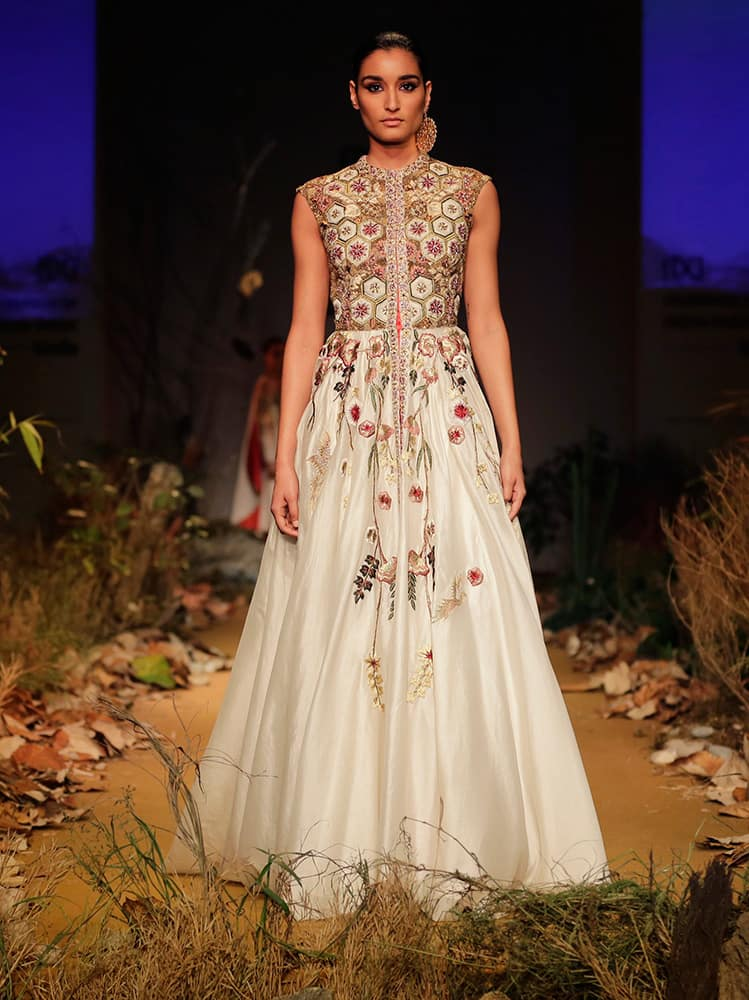 A model displays a creation by Samant Chauhan during the Amazon India Fashion Week in New Delhi.