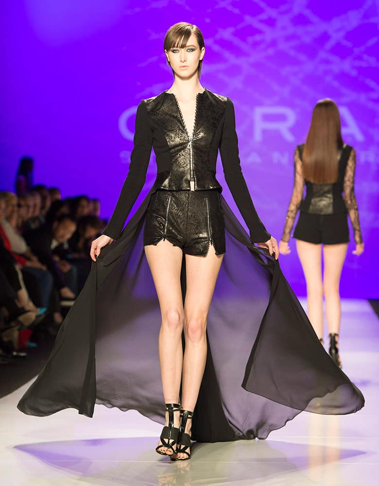 A model walks the runway in the Stephan Caras show during Toronto fashion week in Toronto.
