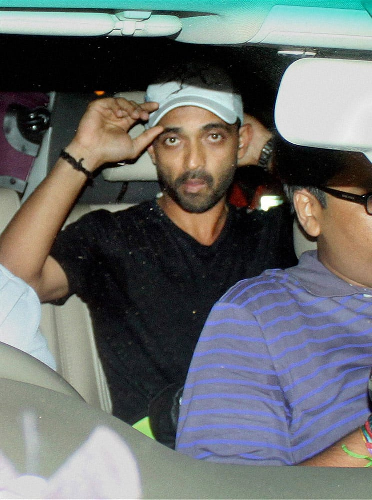 Ajinkya Rahane upon his arrival at the international airport in Mumbai.