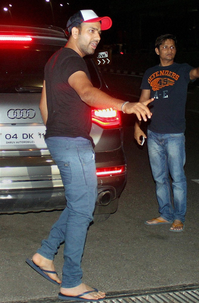 Rohit Sharma upon his arrival at the international airport in Mumbai.