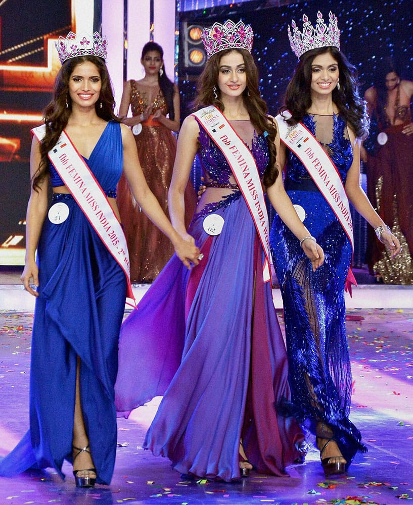 Aditi Arya, winner of Femina Miss India World 2015 with Vartika Singh, second runner-up and Afreen Racheal Vaz, first runner-up, during the Grand Finale, in Mumbai.