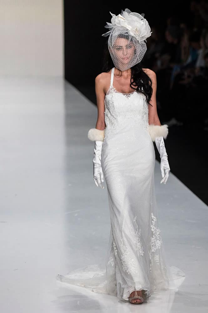 A model displays a creation by Italian designer Antonella Rossi in Moscow, Russia.