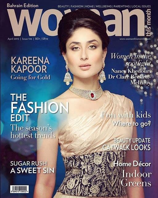 Kareena Kapoor :- Kareena on the cover of Woman magazine, Bahrain edition (April 2015)