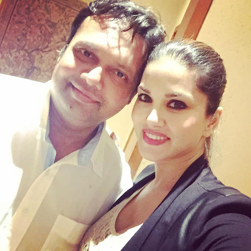 Sunny Leone :- Me and my fav director and good friend @devang23 -twitter