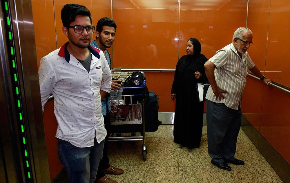 Indians evacuated from Yemen arrive at Chhatrapati Shivaji International Airport in Mumbai.