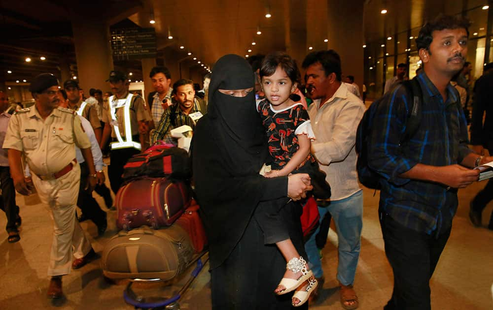 Indians evacuated from Yemen, arrive at Chhatrapati Shivaji International Airport in Mumbai.