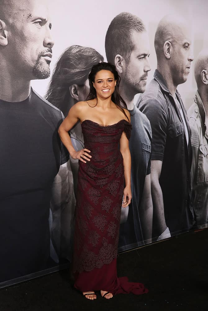 Michelle Rodriguez arrives at the premiere of