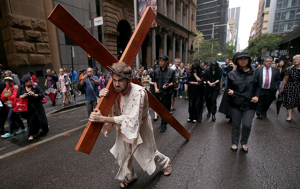 Brendan Paul plays the part of Jesus during a re-enactment of the crucifixion of Christ in Sydney.