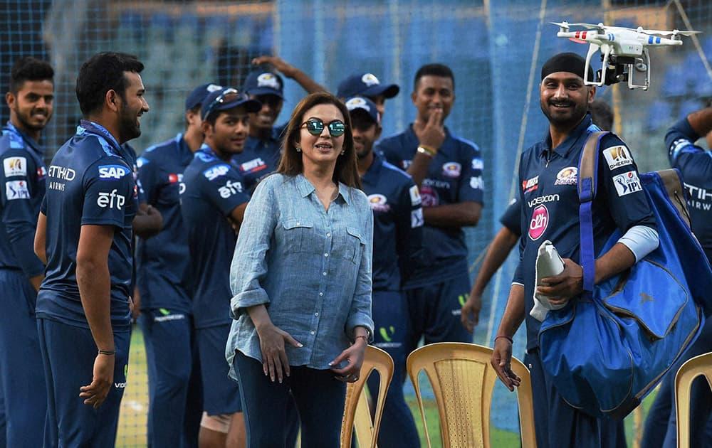 Mumbai Indians owner Nita Ambani along with players during a practice session in Mumbai.