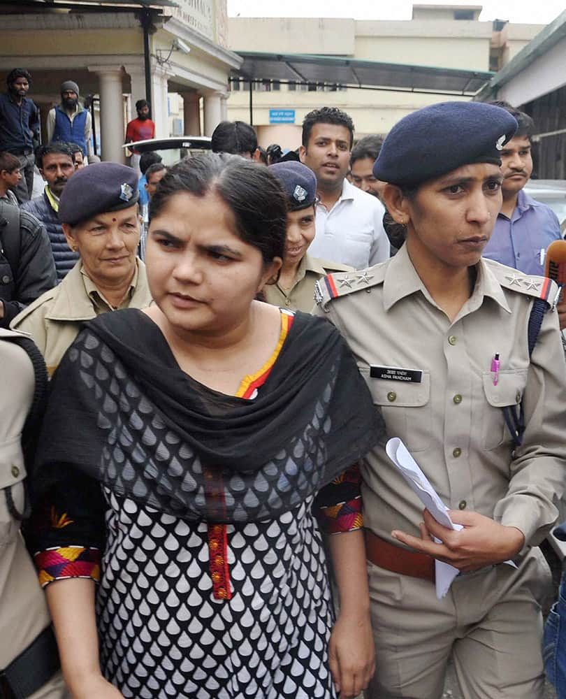 Ruby Chaudhary, arrested for impersonating as an IAS officer, is taken for medical check up.