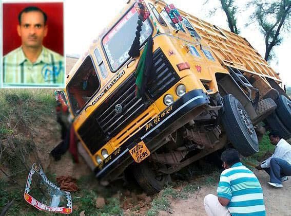 Constable Dharmendra Chouhan (inset) was mowed down allegedly by sand mafia when he tried to stop the dumper carrying illegally mined sand from Chambal River near a village in Morena in the wee hours.
