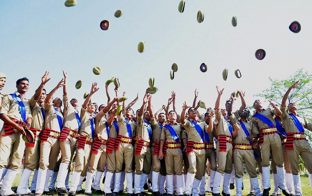Police Computer operators celebrate after passing from Dr Bhimrao Ambedkar Uttar Pradesh Police Academy at the passing out parade in Moradabad.