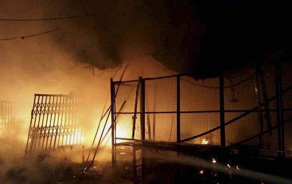 A blazing fire in the Sabzi Mandi in Kapurthala, Punjab.