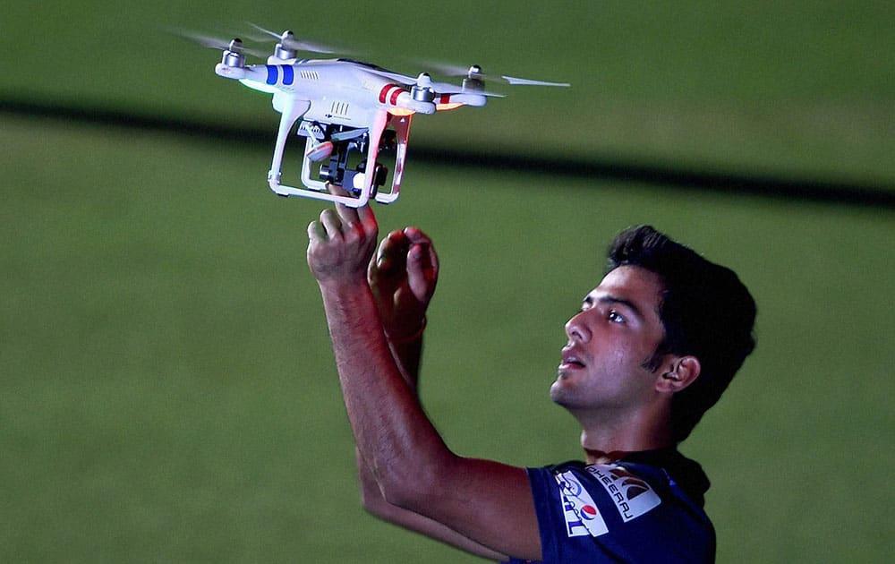 Mumbai Indian player Unmukt Chand after training session at Eden Garden in Kolkata.