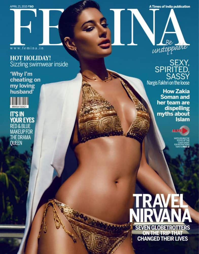 And if this isn't smokin, dont know what is! Check @NargisFakhri on the cover of @FeminaIndia !!! -twitter