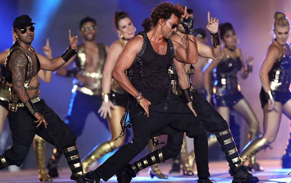 Bollywood Actor Hritik Roshan performs during the Pepsi IPL 2015 opening night event at the Salt Lake Stadium in Kolkata.