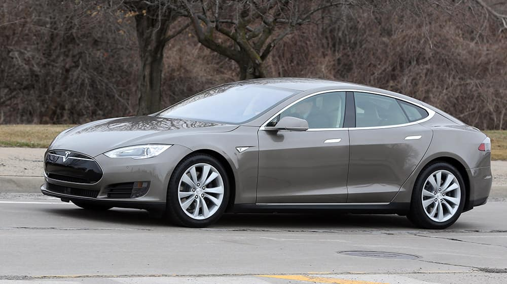 A Tesla Model S 70D is seen during a test drive. Electric car maker Tesla Motors is seeking mainstream luxury buyers by adding all-wheel-drive and more range and power to the base version of its only model.