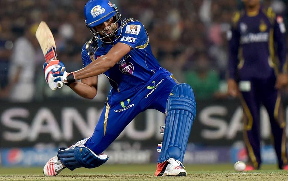 Mumbai Indians batsman Rohit Sharma plays a shot during their IPL-2015 match against KKR at Eden Garden in Kolkata.
