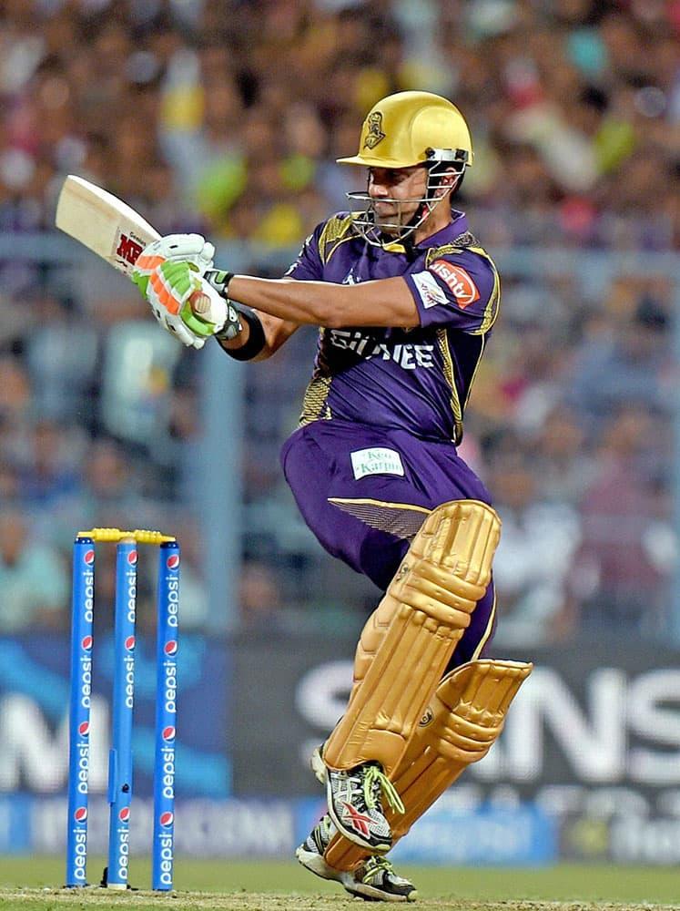 KKR Captain Gautam Gambhir plays a shot during their IPL-2015 match against Mumbai Indians at Eden Garden in Kolkata.