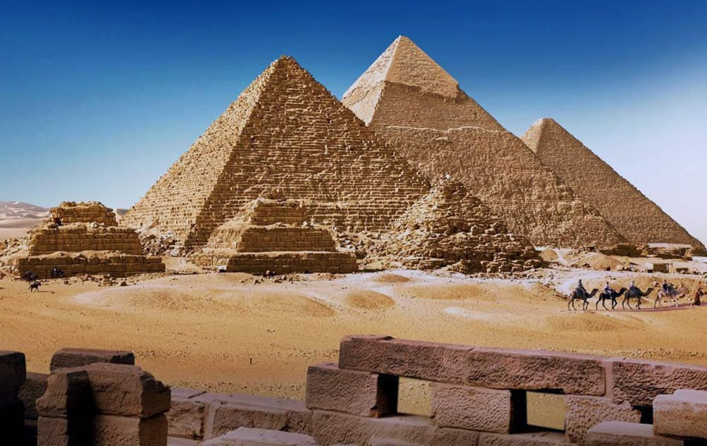 The Pyramids of Giza, a major tourist attraction in Egypt. The country is attempting to revive its tourism industry which has dwindled since the Egypt Revolution of 2011.