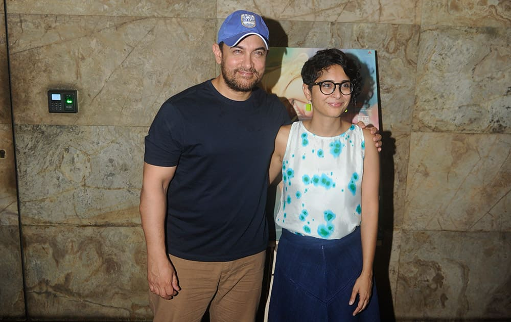 Aamir Khan and wife Kiran Rao at the screening of 'Margarita with a straw' in Mumbai. dna
