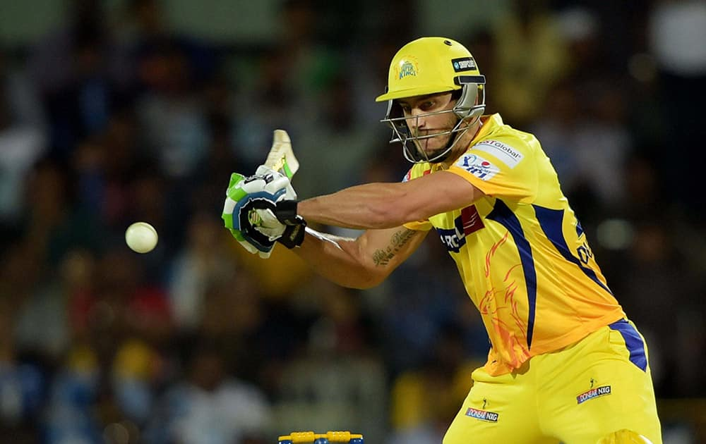 Chennai Super Kings' player Faf du Plessis plays a shot during their IPL-2015 match against Delhi Daredevils at MAC Stadium in Chennai.