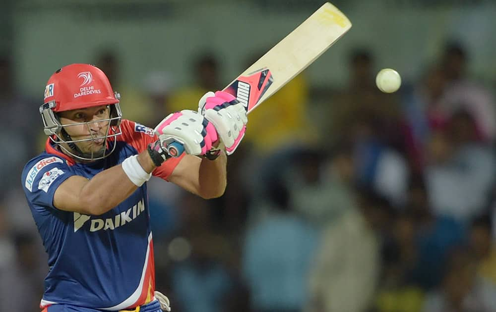 Delhi Daredevils Yuvraj Singh plays a shot during their IPL-2015 match against Chennai Super Kings at MAC Stadium in Chennai.