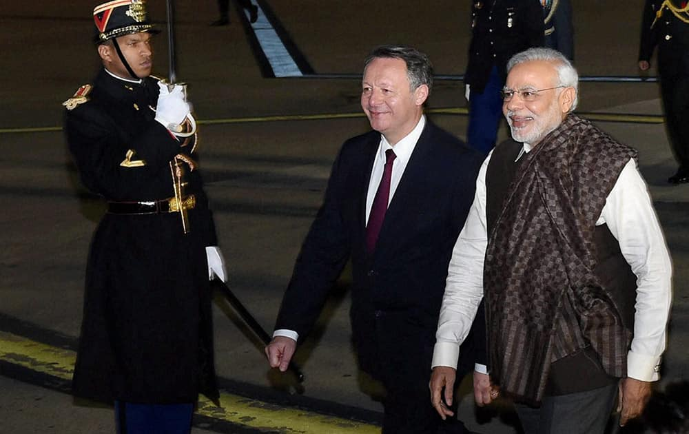 Prime Minister Narendra Modi upon his arrival at the Paris Orly International airport in France.