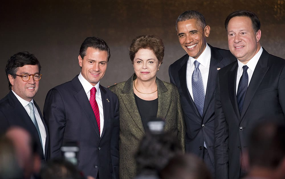 US President Barack Obama, Luis Alberto Moreno President of the Inter-American Development Bank, Mexican President Enrique Pena Nieto, Brazilian President Dilma Vana Rousseff, Panamanian President Juan Carlos Varela, following their participation in the CEO Summit of the Americas panel discussion in Panama City, Panama