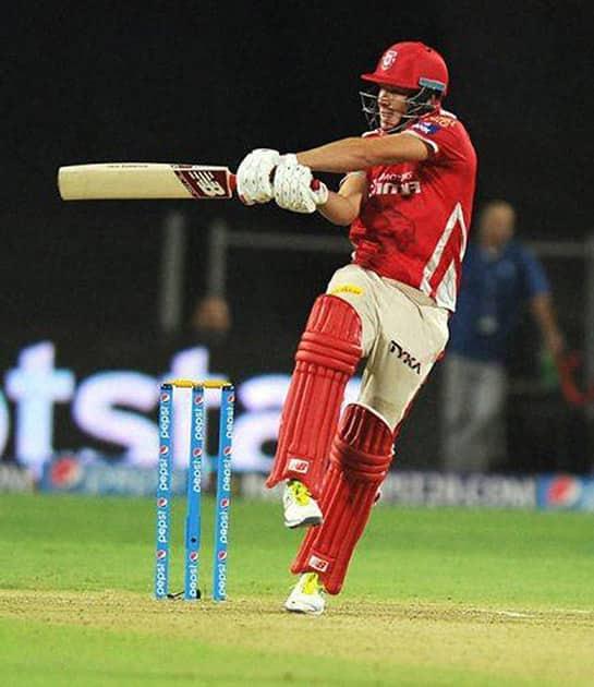 Kings XI Punjab player David Miller plays a shot during the IPL 2015 match against Rajasthan Royals in Pune.