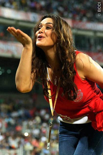 Preity Zinta owner of Kings XI Punjab during the IPL match in Pune.