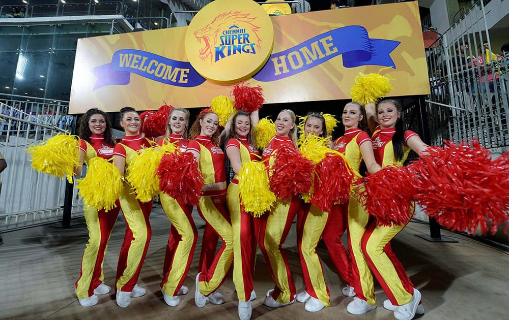 CSK cheerleaders perform during the IPL-2015 match against Delhi Daredevils at MAC Stadium in Chennai.