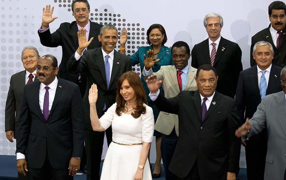 Heads of State attending the VII Summit of the Americas, pose for the official group photo, in Panama City, Panama.