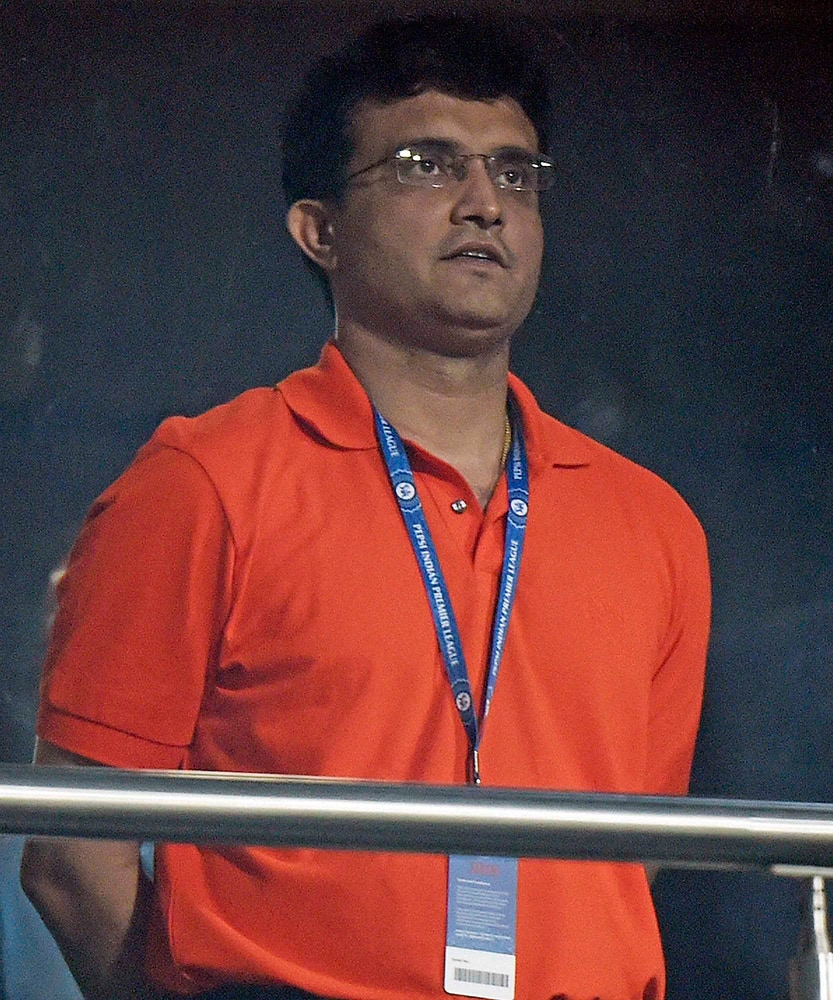 Formar cricketer Sourav Gangully during an IPL-2015 match between RCB and KKR at Eden Garden in Kolkata.