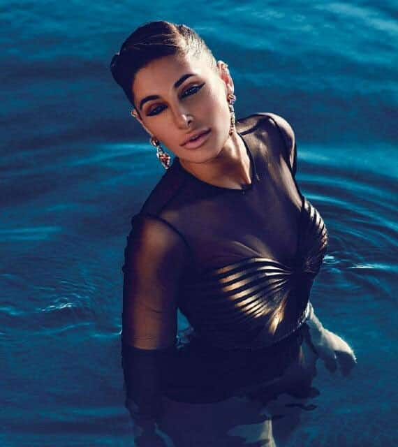 Nargis fakhri sizzles in black  bikini for Femina magazine April 2015 issue.-twitter
