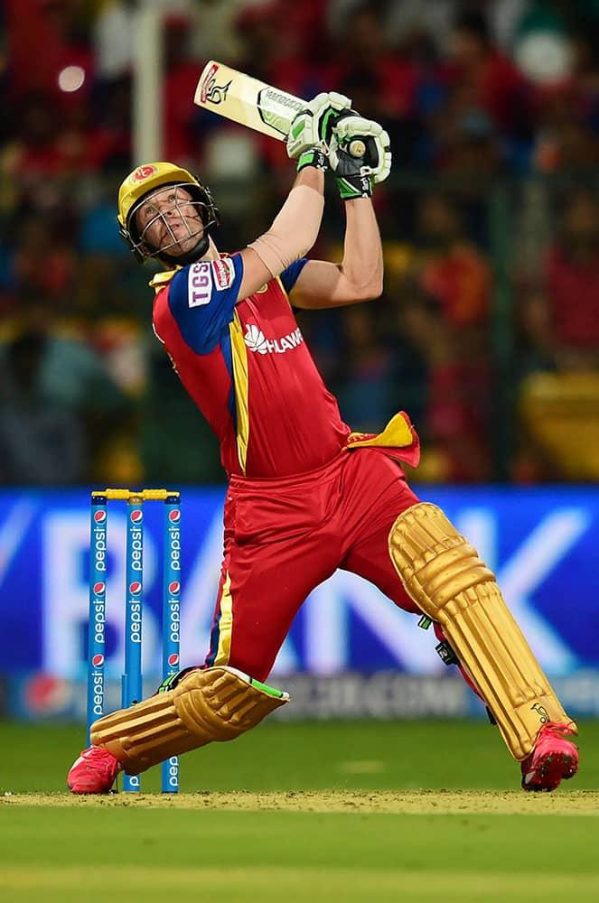 Royal Challengers batsman AB De Villiers plays a shot during IPL 8 match against Sunrisers Hyderabad at Chinnaswamy Stadium in Bengaluru.