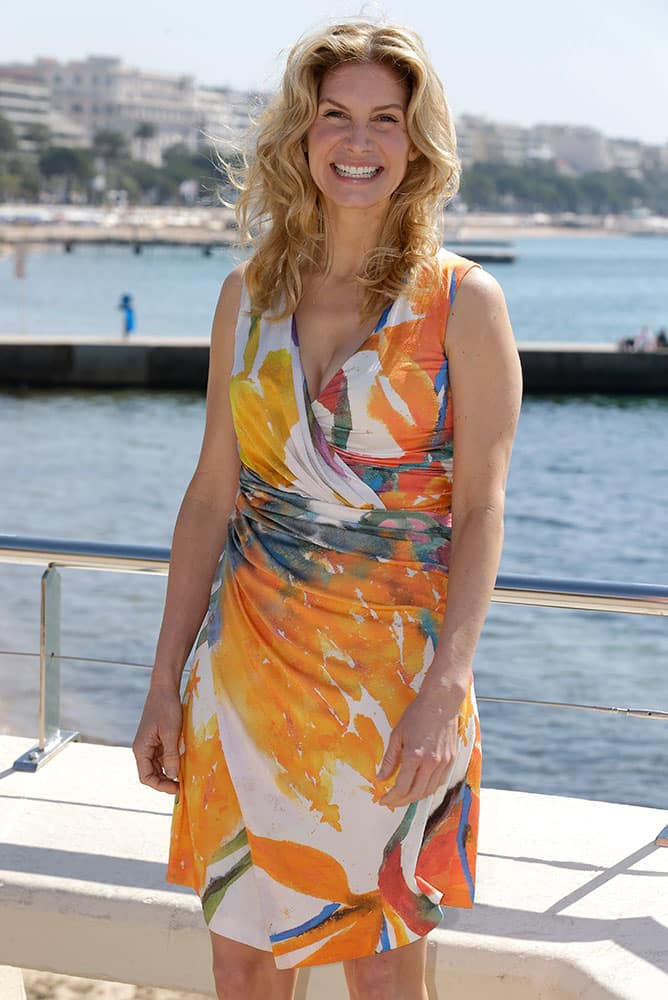 American actress Elizabeth Mitchell poses for photographers during the MIPTV International Television Programme Market, in Cannes, southern France.