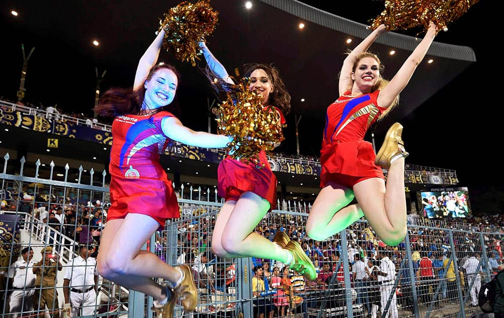 RCB cheergirls perform during IPL match against KKR at Eden Garden in Kolkata.