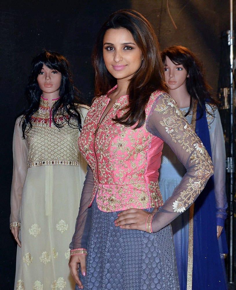 Bollywood actress Parineeti Chopra launches a clothing line for women in Mumbai.