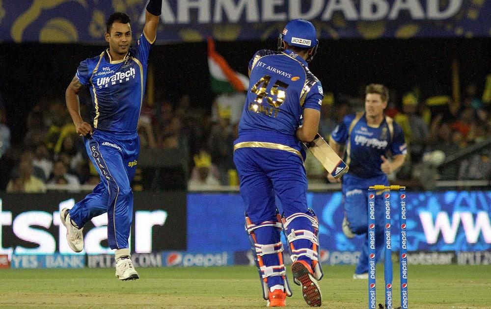 Stuart Binny of Rajasthan Royals celebrates the wicket of Rohit Sharma captain of Mumbai Indians during their IPL 2015 at the Sardar Patel Stadium in Ahmedabad