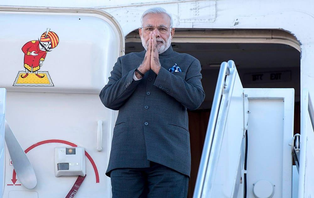 PM Narendra Modi arrives at Ottawa, Ontario, for a state visit.