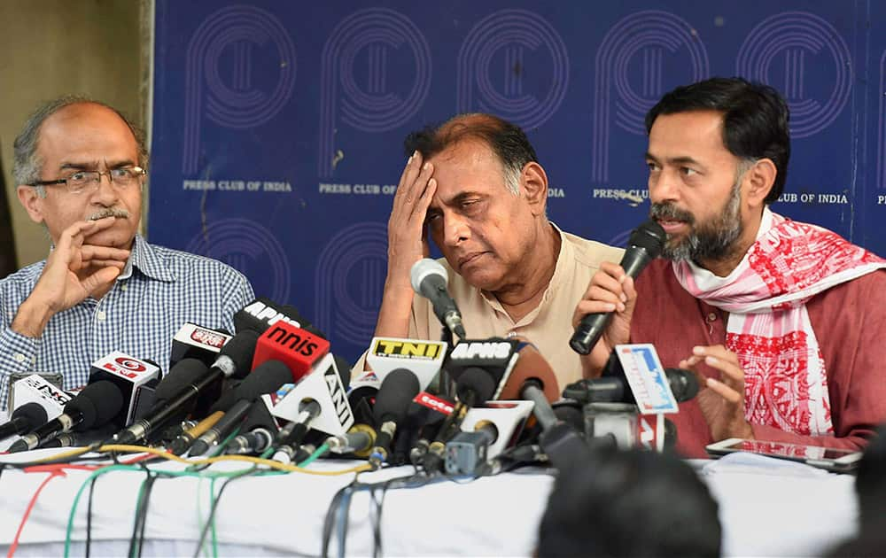 Rebel AAP leaders Yogendra Yadav, Anand Kumar and Prashant Bhushan during a press conference in New Delhi.
