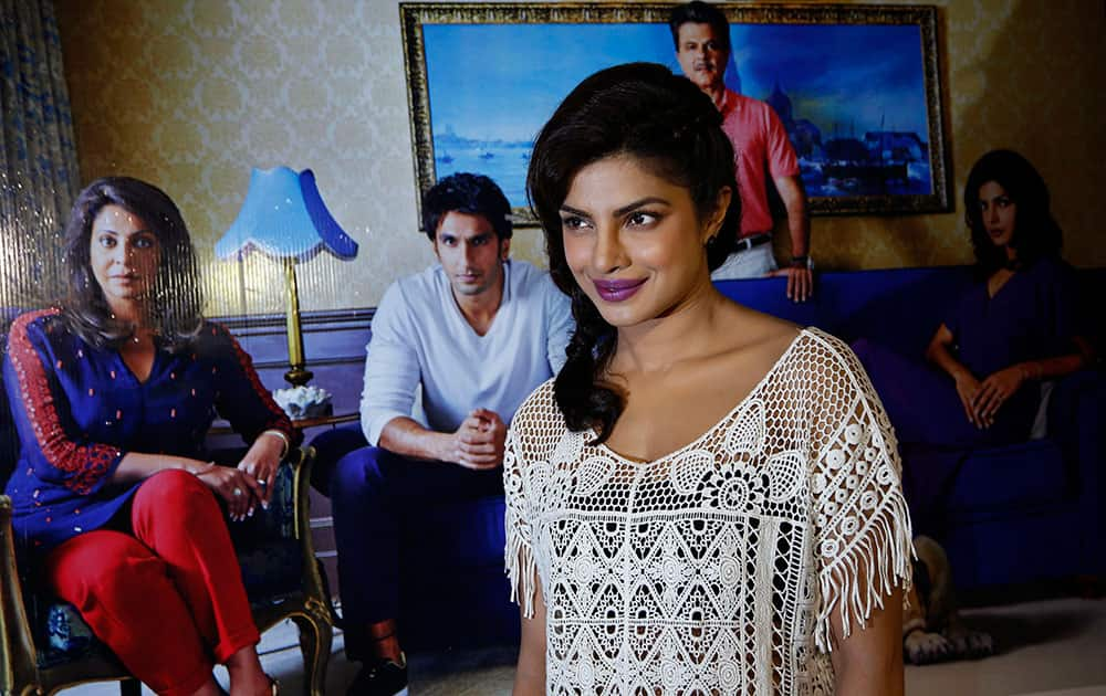 Bollywood actress Priyanka Chopra poses for photos during a trailer launch for the upcoming movie