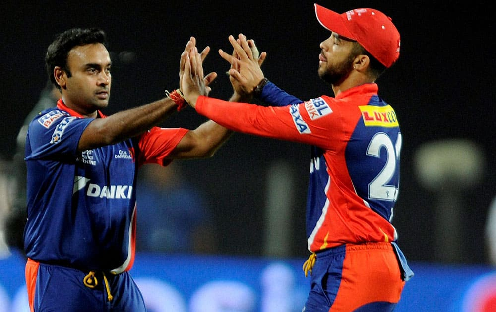 Jean-Paul Duminy captain of Delhi Daredevils celebrates the wicket of Virender Sehwag of Kings XI Punjab during an IPL t 20 match in Pune.