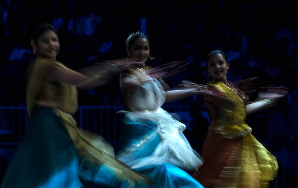 Dancers perform ahead of an event attended by Prime Minister Narendra Modi and Canadian Prime Minister Stephen Harper in Toronto.