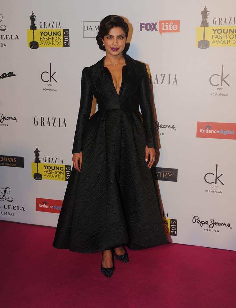 Priyanka Chopra during the Grazia Young Fashion Awards 2015 in Mumbai. DNA
