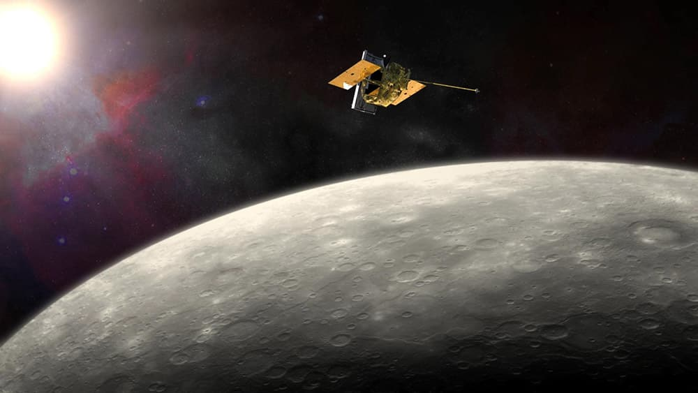This artist's rendering provided by NASA shows the MErcury Surface, Space ENvironment, GEochemistry, and Ranging (MESSENGER) spacecraft around Mercury.
