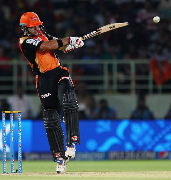 Naman Ojha of the Sunrisers Hyderabad plays a shot during their Pepsi IPL 2015 match against Rajasthan Royals in Visakhapatnam.